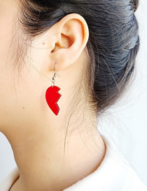 Fashion Red Transparent Acrylic Broken Heart Asymmetrical Earrings