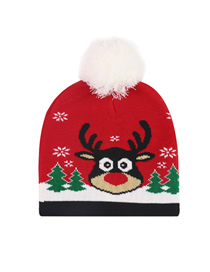 Fashion Elk Head Christmas Snowman Elk Knitted Jacquard Hat With Ball