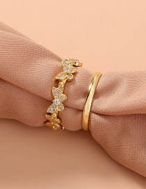Fashion Gold Color Micro-set Zircon Butterfly Round Alloy Ring