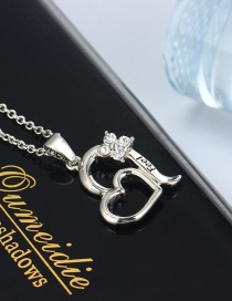 Fashion Silver Color Butterfly Half-set Diamond Love Letter Hollow Necklace