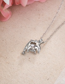 Fashion Silver Color Dolphin Openable Cage Pearl Hollow Necklace