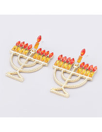 Fashion Red Yellow Christmas Candle Holder Alloy Diamond Acrylic Earrings