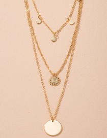 Fashion Golden Hollow Disc Pendant Alloy Multilayer Necklace
