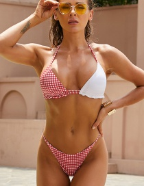 Fashion Printing Polka Dot Print Contrasting Split Swimsuit