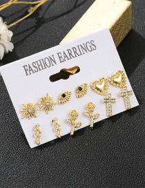 Fashion Gold Color 1 Eye Studded Cross Geometric Earrings Set