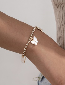 Fashion White Tassel Claw Chain Diamond Butterfly Alloy Bracelet