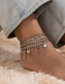 Fashion White K Lock Key Alloy Multilayer Anklet