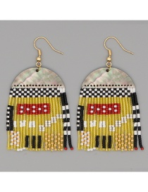 Fashion Yellow Rice Bead Woven Geometric Tassel Earrings