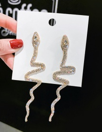 Fashion Gold Color Full Diamond Serpentine Long Diamond Earrings