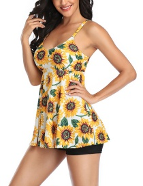 Fashion Yellow Skirt-style Boxer Shorts Printed Split Swimsuit
