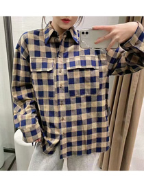 Fashion Plaid Loose Plaid Lapel Single-breasted Shirt Top