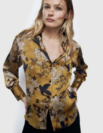 Fashion Yellow Floral Print Shirt