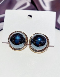 Fashion Golden Black Pearl Copper Plated Round Earrings