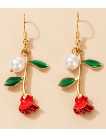 Fashion Red Rose Flower Three-dimensional Pearl Earrings