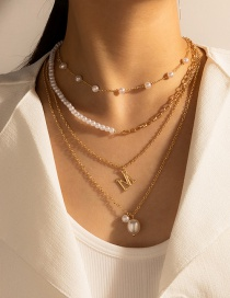 Fashion Golden Letter Pendant Multilayer Pearl Necklace