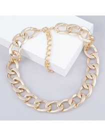 Fashion Golden Oval Thick Chain Geometric Alloy Necklace