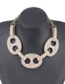 Fashion Golden Oval Diamond Pig Nose Hollow Necklace