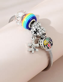 Fashion Color Mixing Little Pineapple Dripping Oil Love Rainbow Beaded Alloy Bracelet