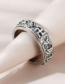 Fashion Silver Color Embossed Geometric Alloy Mens Ring