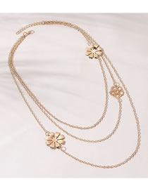 Fashion Gold Color Flower Alloy Hollow Multilayer Necklace