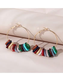 Fashion Color Mixing Resin Round Alloy Earrings