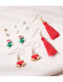 Fashion Red Christmas Bell Dripping Oil Tassel Alloy Earring Set