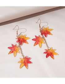 Fashion Red Maple Leaf Resin Alloy Earrings