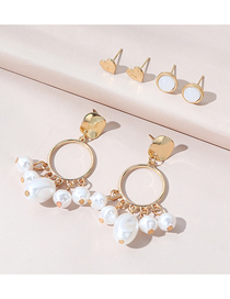Fashion Gold Color Pearl Beaded Love Alloy Earring Set