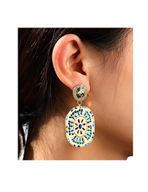 Fashion Gold Color Oval Stone Floor Alloy Earrings