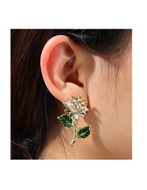 Fashion Gold Color Sunflower Spray Paint Alloy Earrings