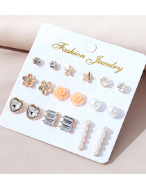 Fashion Color Mixing Diamond And Pearl Resin Flower Alloy Earring Set