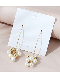Fashion Golden Real Gold Plated Pearl Tassel Earrings