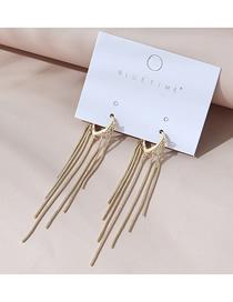 Fashion Golden Real Gold-plated Long Tassel Geometric Earrings