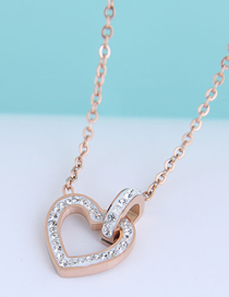 Fashion Rose Gold Diamond Love Heart Titanium Steel Necklace