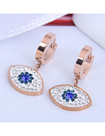 Fashion Rose Gold Diamond Eye Pendant Titanium Steel Stud Earrings
