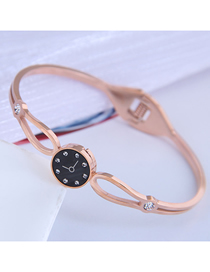 Fashion Rose Gold Titanium Steel Watch Cutout Bracelet