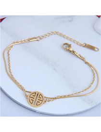 Fashion Golden Titanium Steel Round Geometric Hollow Double-layer Bracelet