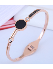 Fashion Rose Gold Titanium Steel Round Diamond Roman Letter Open Bracelet