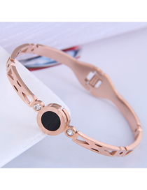 Fashion Rose Gold Round Titanium Steel Bracelet With Roman Numerals And Diamonds