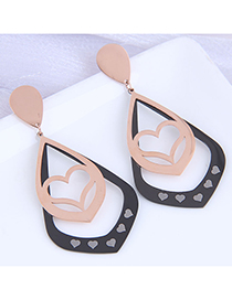 Fashion Color Mixing Titanium Steel Water Drop Leaf Love Heart Hollow Earrings