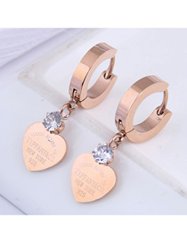 Fashion Rose Gold Titanium Steel Peach Heart Diamond Letter Earrings