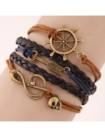 Fashion Black Anchor And Arrow Sound In Line With Gold Handmade Multi-layer Braided Bracelet