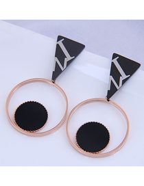 Fashion Gold Color Titanium Steel Round Hollow Earrings