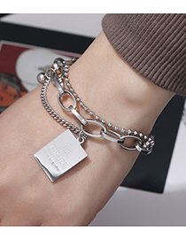 Fashion Silver Color Stainless Steel Shield Double Bracelet