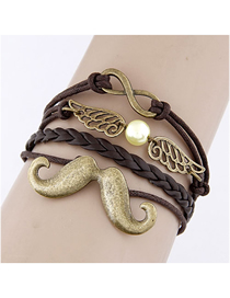 Fashion Black Beard And Wings Combination Alloy Multi-layer Braided Bracelet