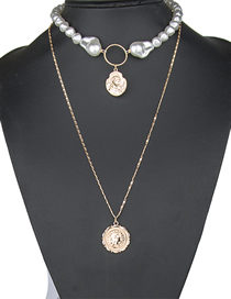 Fashion Golden Two-piece Pearl Beaded Round Coin Chain Necklace