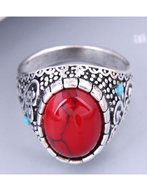 Fashion Red Alloy Inlaid Turquoise Carved Ring