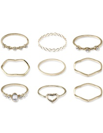 Fashion Silver Hollow Love Geometric Wavy 9-piece Ring