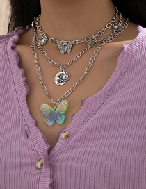 Fashion White K Butterfly Moon Sun Multilayer Necklace