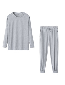 Fashion Light Grey Solid Color Long-sleeved Top And Pants Suit